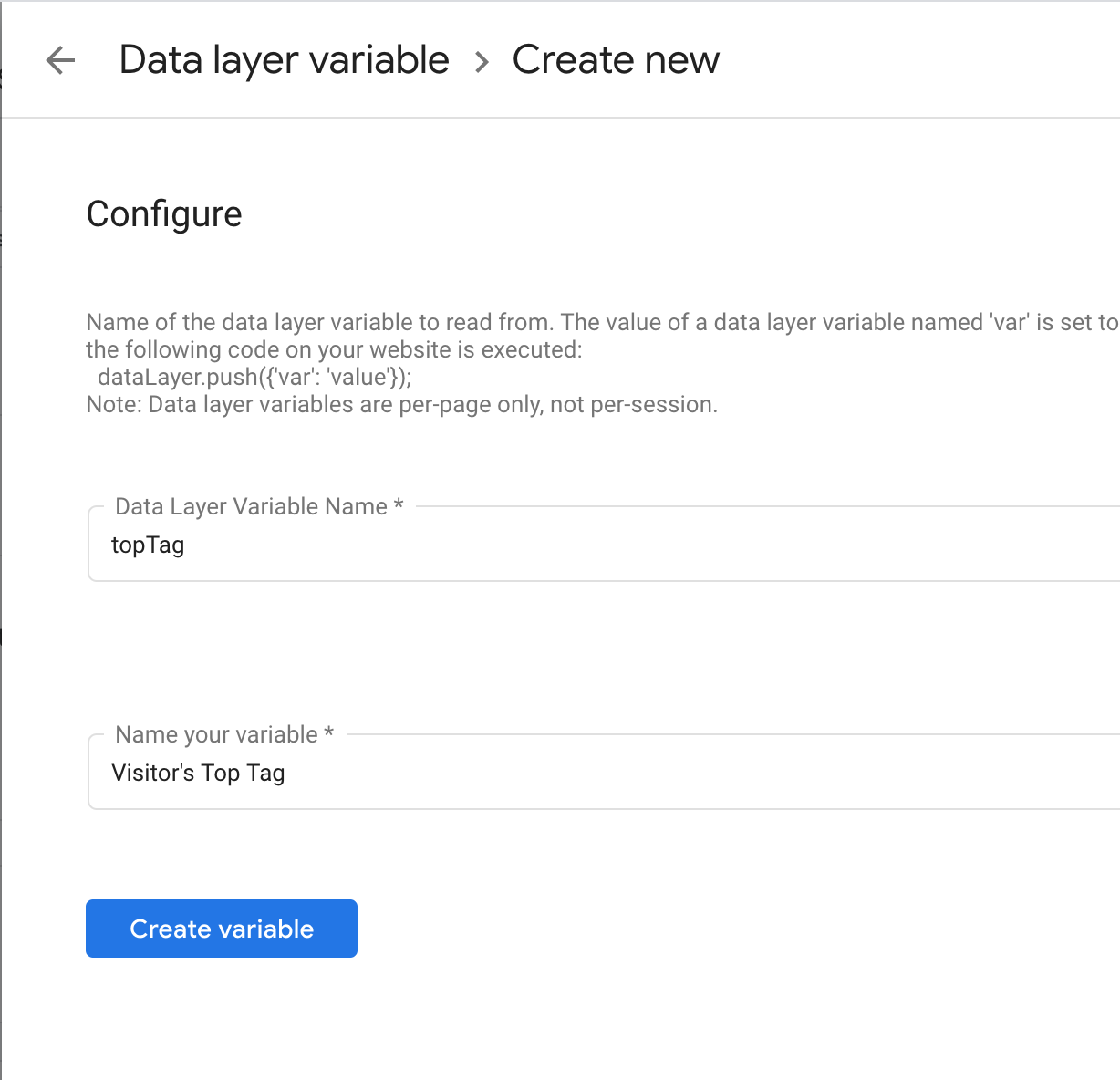 data layer variable creation.