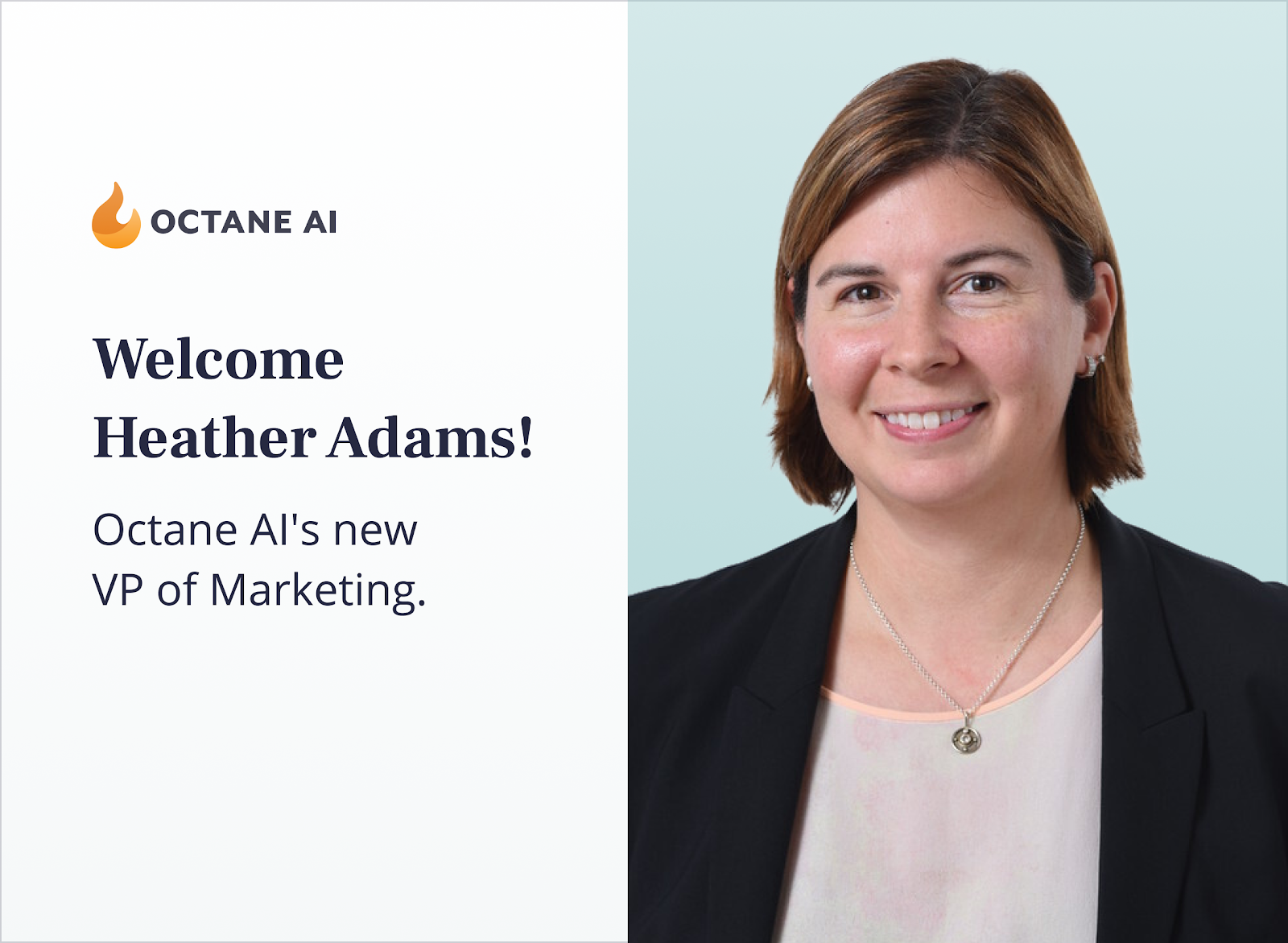 Graphic welcoming Heather to Octane AI