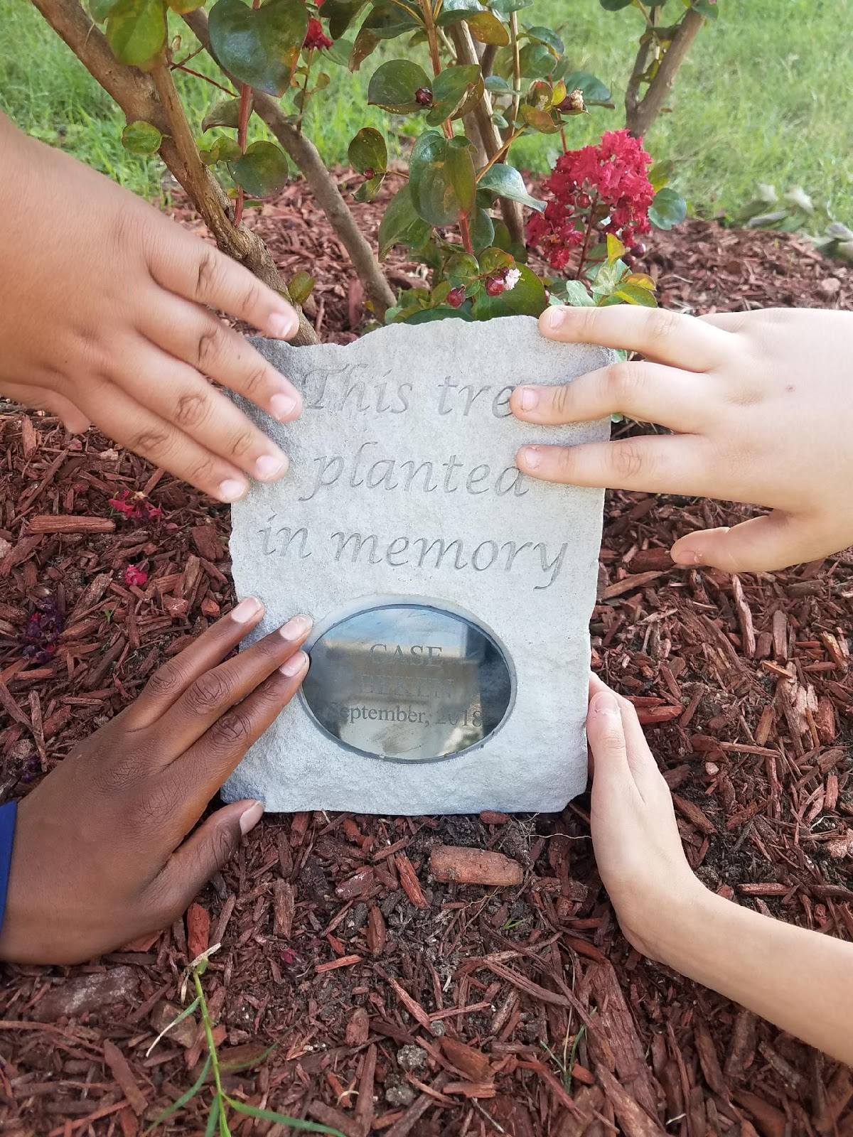 The hands of four students touch the stone plaque.