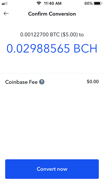 Confirm conversion page on Coinbase.
