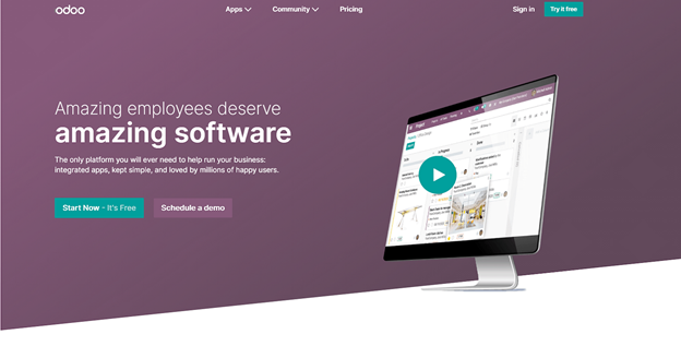 video landing page examples odoo