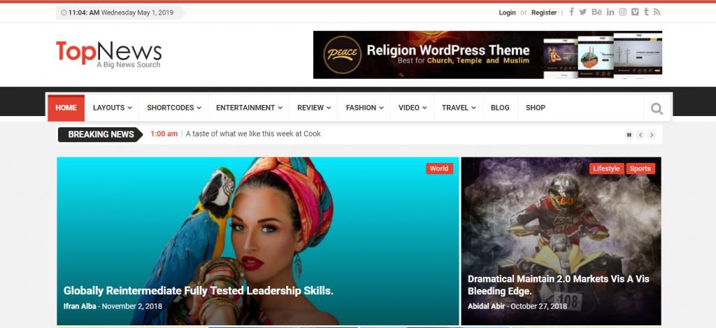 topnews é um tema wordpress para usar no seu site