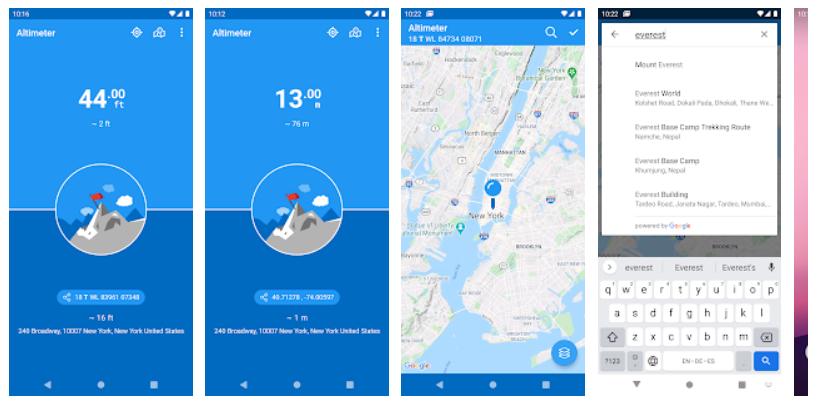 Aplikace pro zjistění nadmořské výšky Altimeter