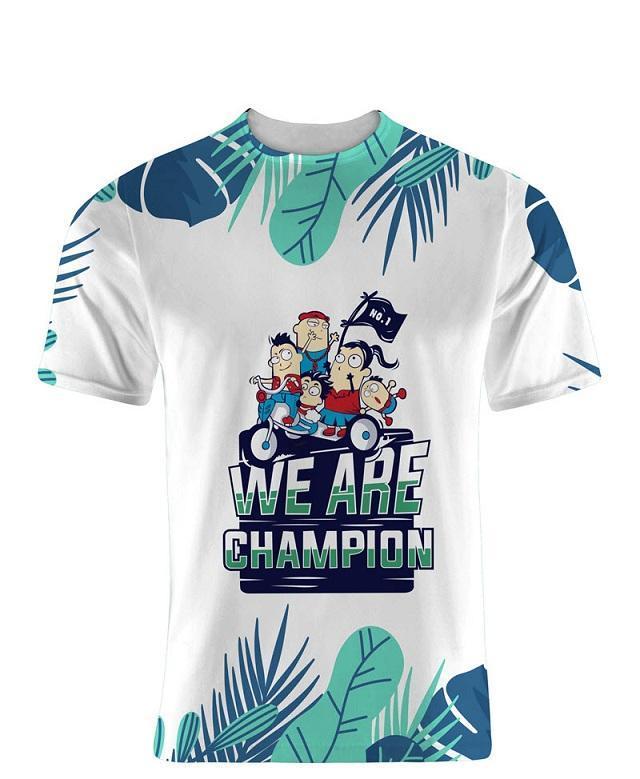 """Mẫu áo thun cổ tròn """"we are champion"""" thể hiện khát khao chiến thắng"""