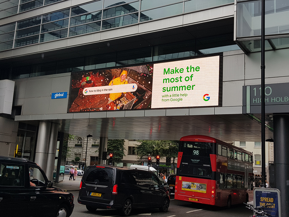 """Google's digital display saying, """"Make the most of summer with a little help from Google"""""""