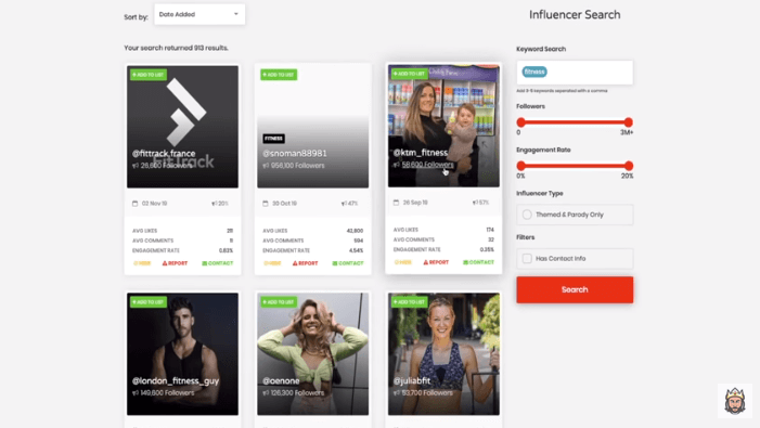 kamil sattar showing a platform for searching for instagram influencers