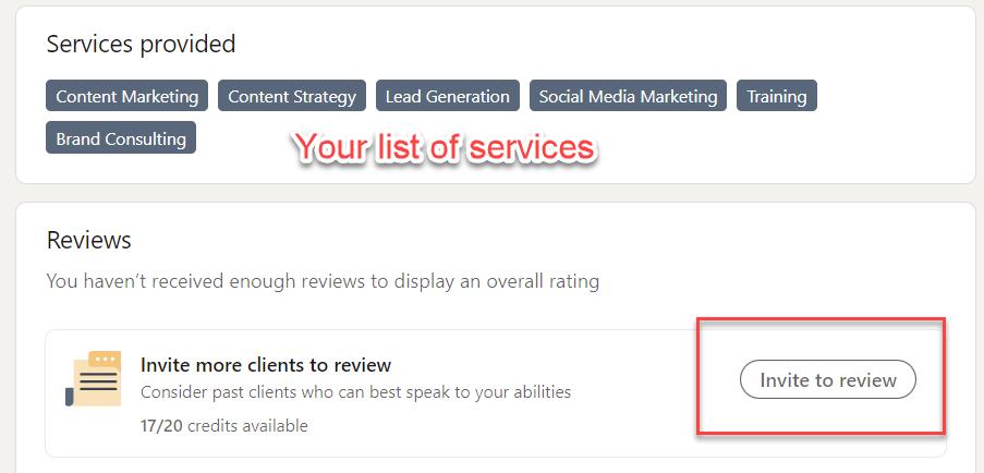 LinkedIn 5 Star Review invite