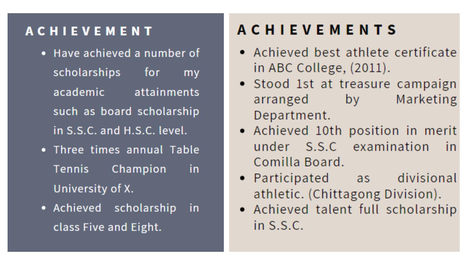 List Your Achievements