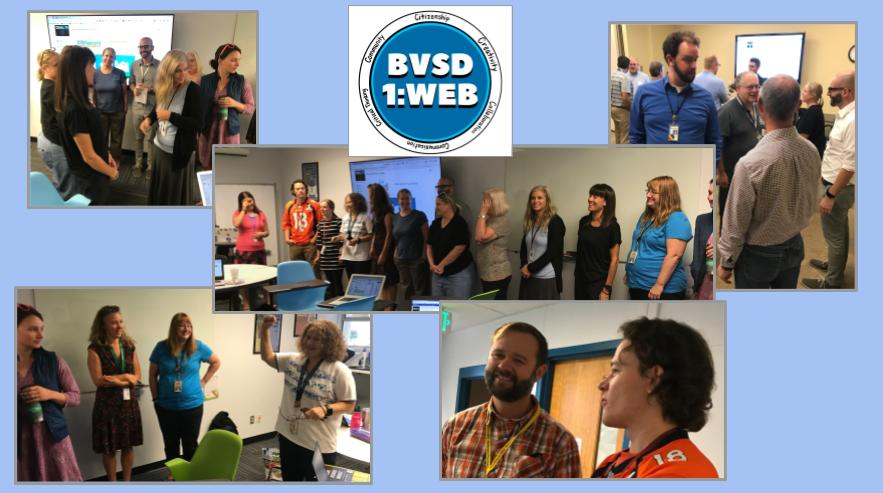 This is a picture collage of Boulder Valley School District teachers on special assignment working together. Each picture has a few people collaborating and team building.