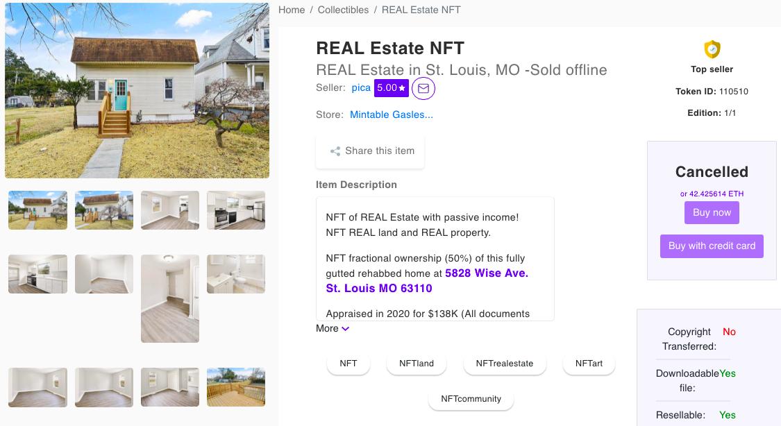 Страница с объявлением Ивана Мальпика о продаже NFT на недвижимость на платформе Mintable