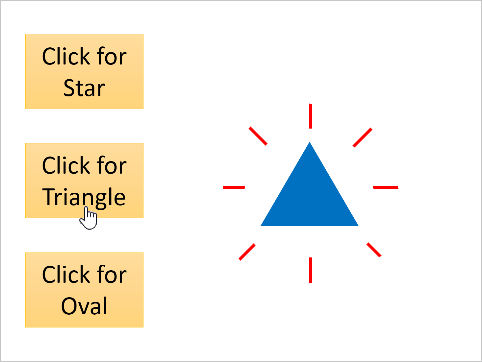 Click on the yellow button for triangle and the blue triangle appears.