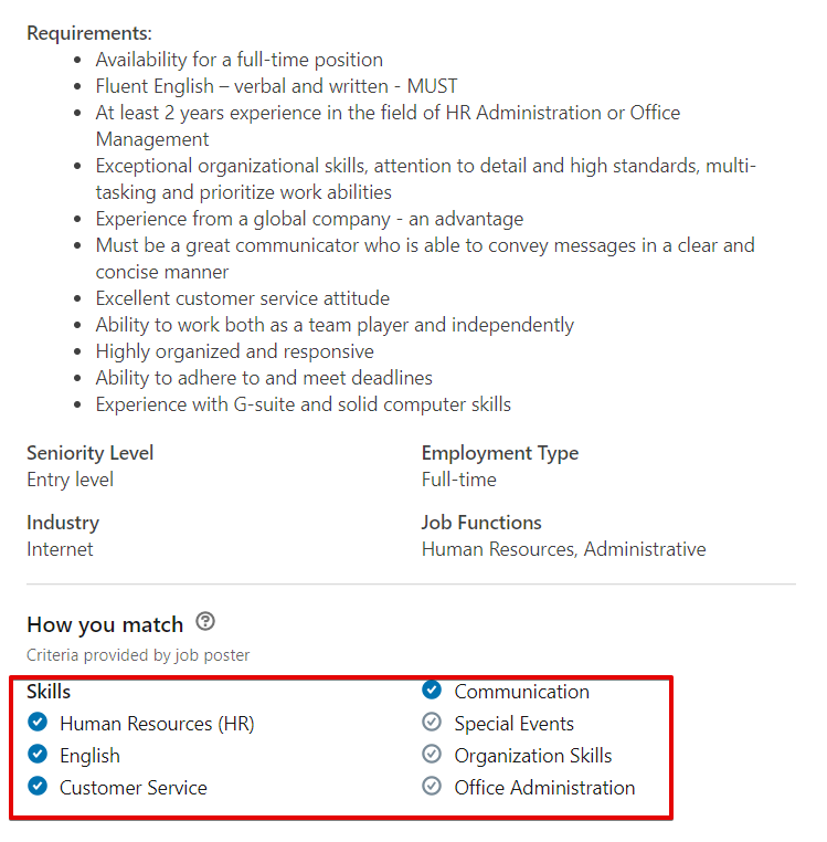resume skills section