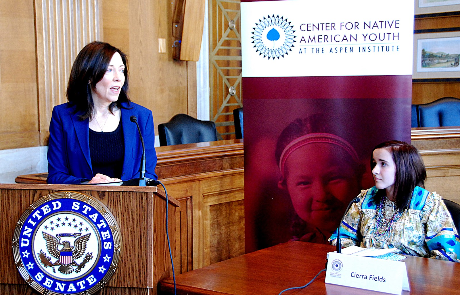 Senator Maria Cantwell (left) and Champion for Change Cierra Fields (right) - Photo: Vincent Schilling