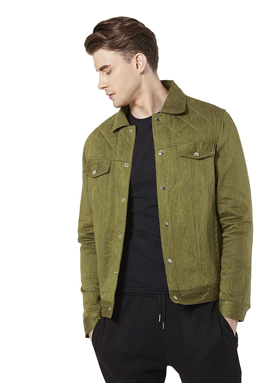 Merlot Olive Green Denim Jacket For Men