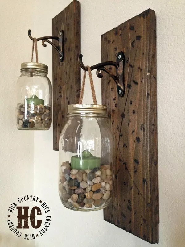 Mason Jar Wall Lanterns: These 50 Cheap & Easy Farmhouse Decor Ideas will help you save money and transform your space.