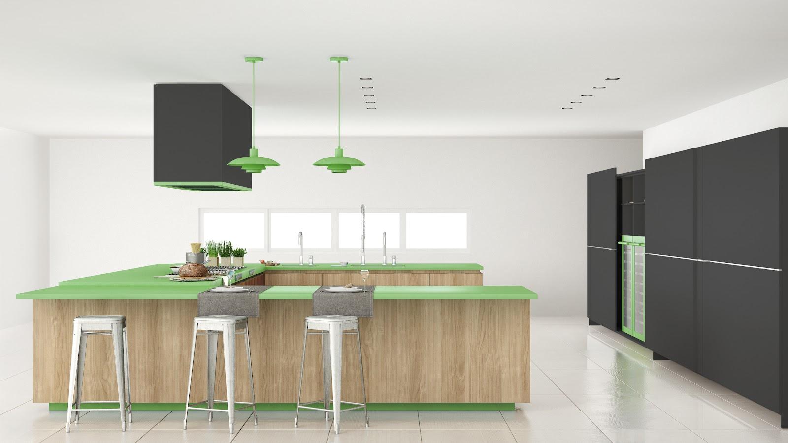 Cozinha com luminária pendente da cor verde.
