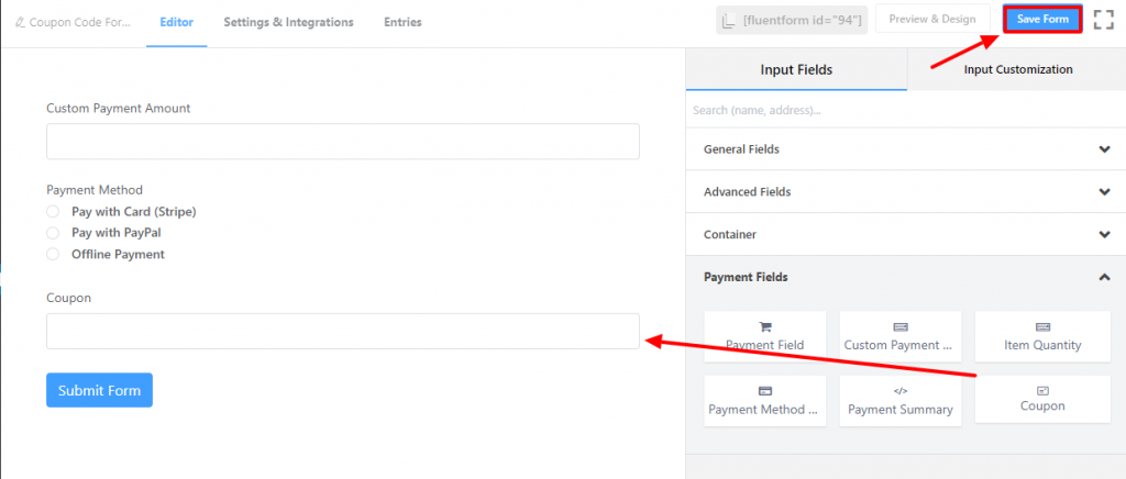 Fluent Forms add coupon field