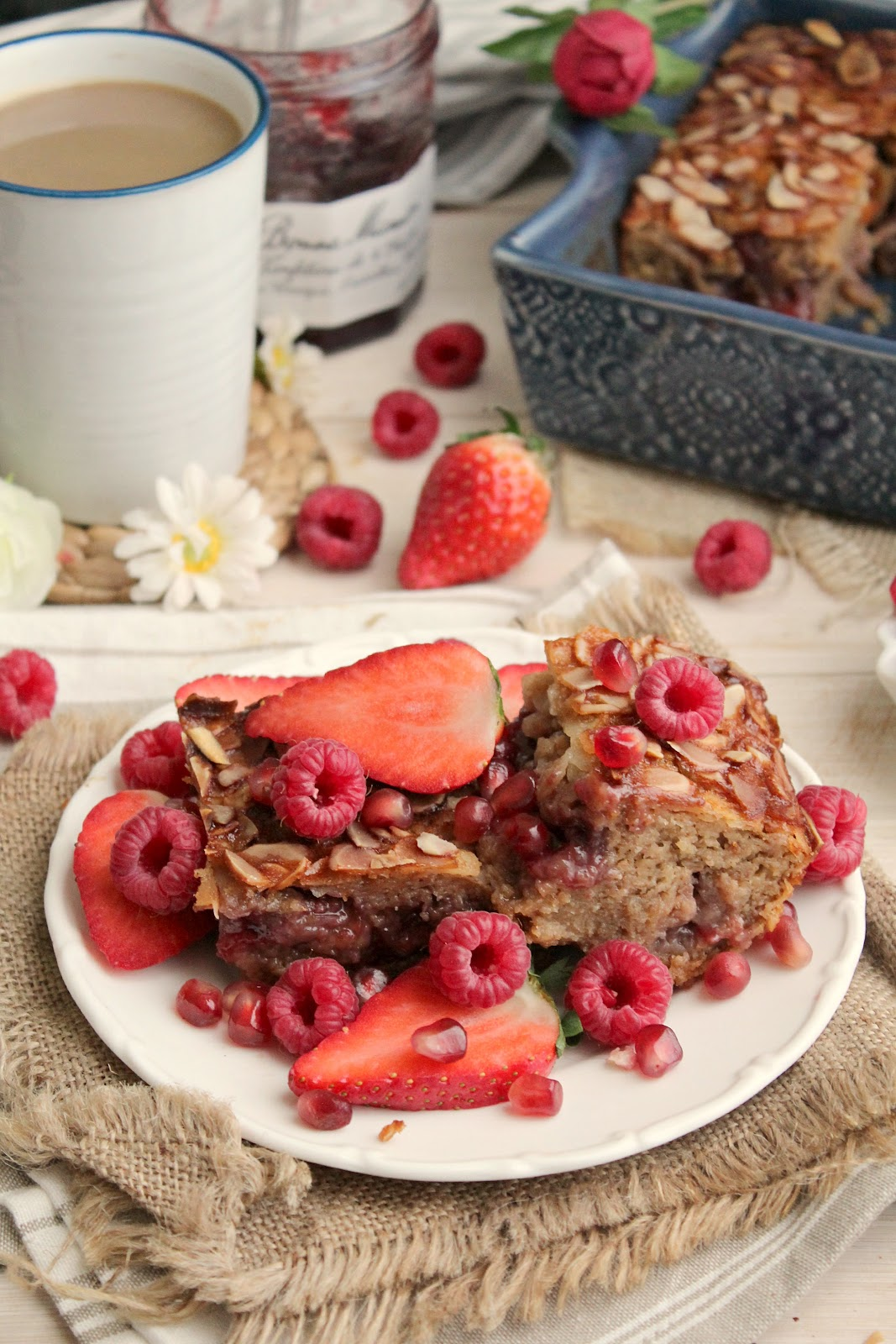 Strawberry Swirl Almond Oat Bake