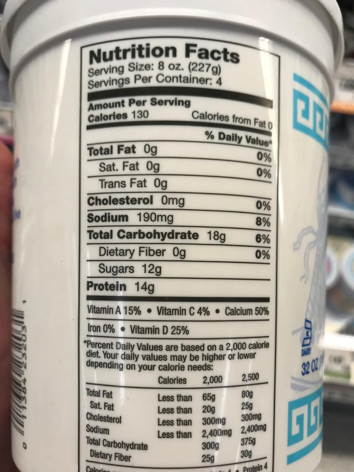 image of nutrition facts for plain Greek yogurt showing 12g of sugar