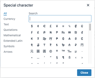 A special character selection dialog box