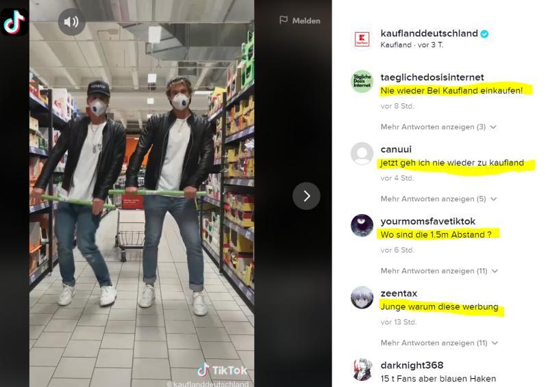 Ein Auftritt von Kaufland bei TikTok wurde von den Usern negativ aufgenommen, Quelle: Adil Sbai