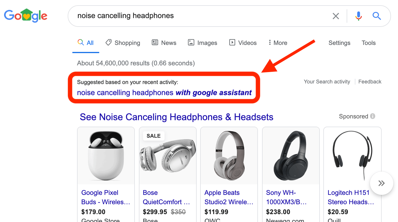 Example of personalizing product searches
