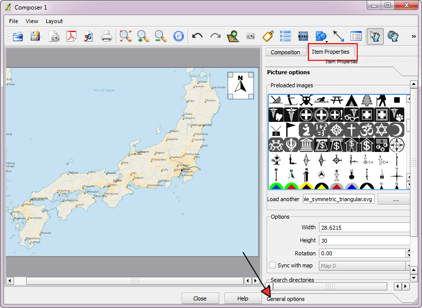 Quantum gis qgis tutorials tutorial making maps for print corner of the map canvas click on the item properties tab and select the north arrow image of your liking next click on the general options tab at gumiabroncs Gallery