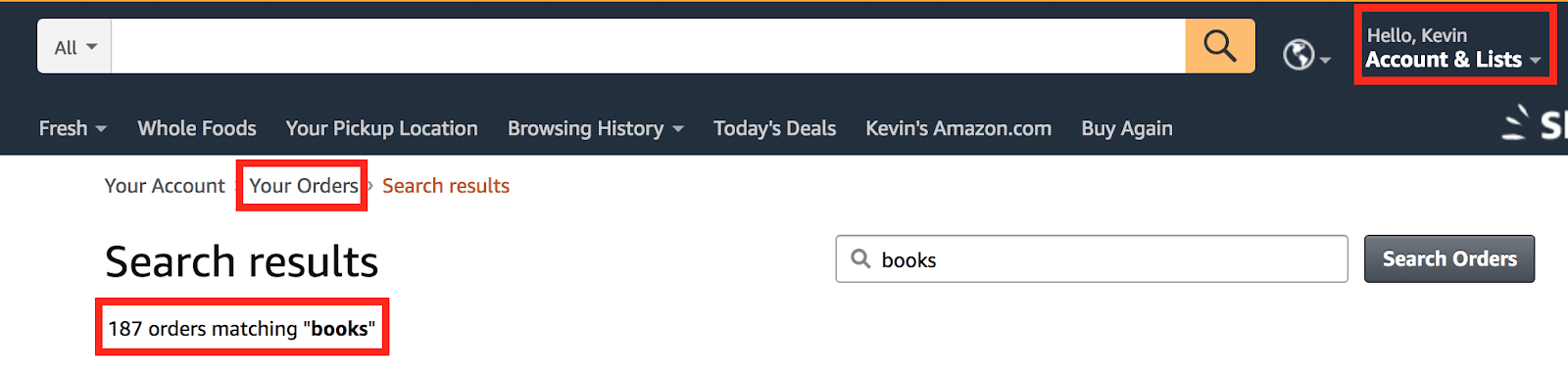 This is my Amazon order history for books