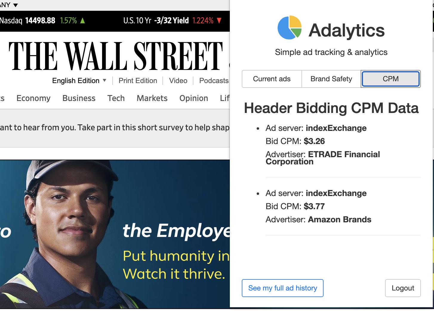 Adalytics browser extension showing header bidding data