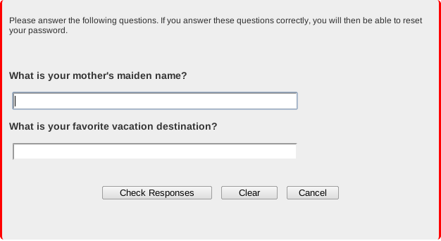 Screen shot: Answer the two security questions