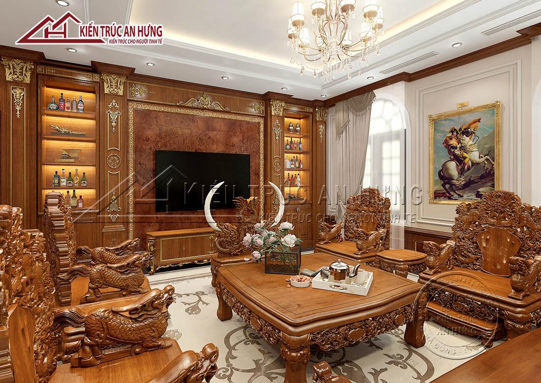 Tường, bàn, ghế đều được làm từ gỗ tự nhiên mang đến vẻ đẹp sang trọng, cao cấp cho căn phòng khách