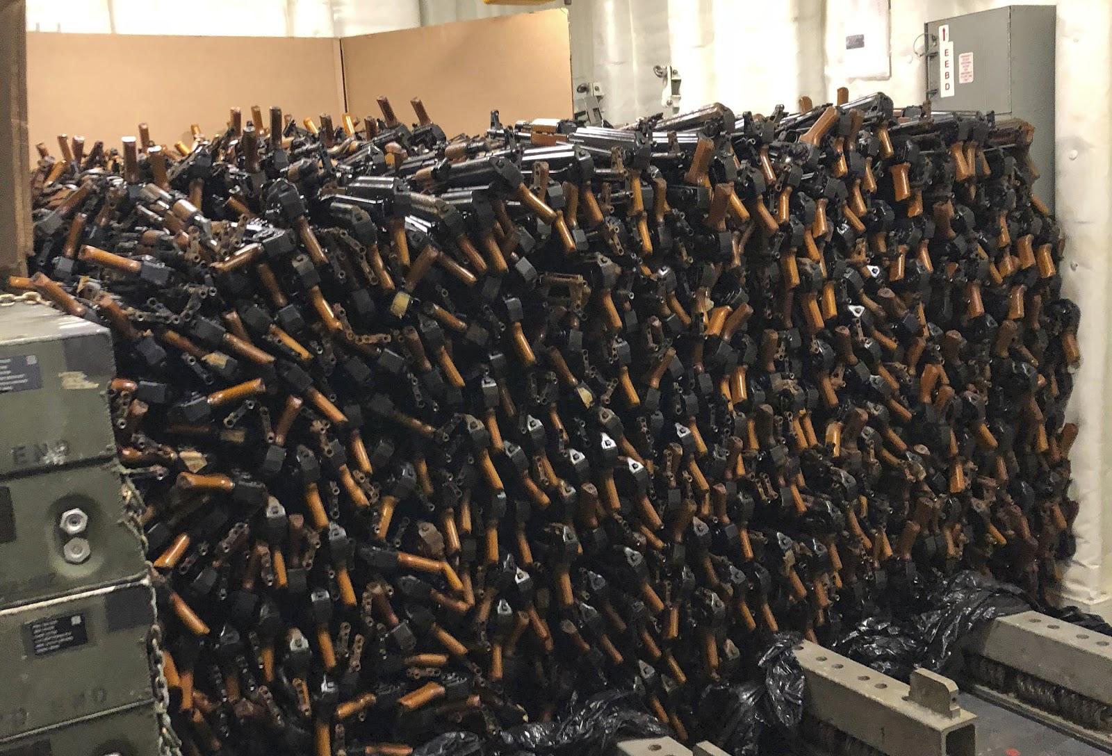 Pile of AK-47 rifles