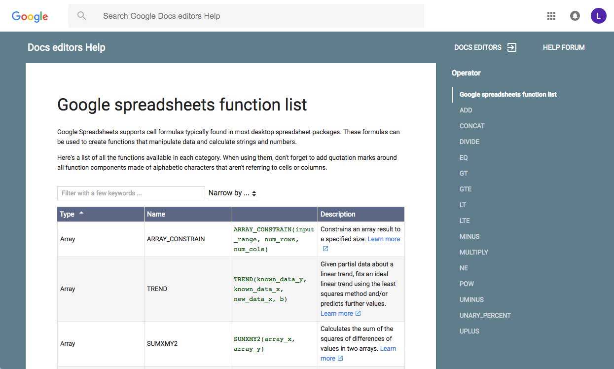 The Google Spreadsheets function list
