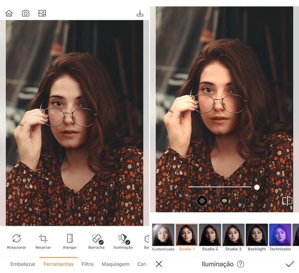 Foto da selfie de uma menina usando óculos sendo editada pelo AirBrush