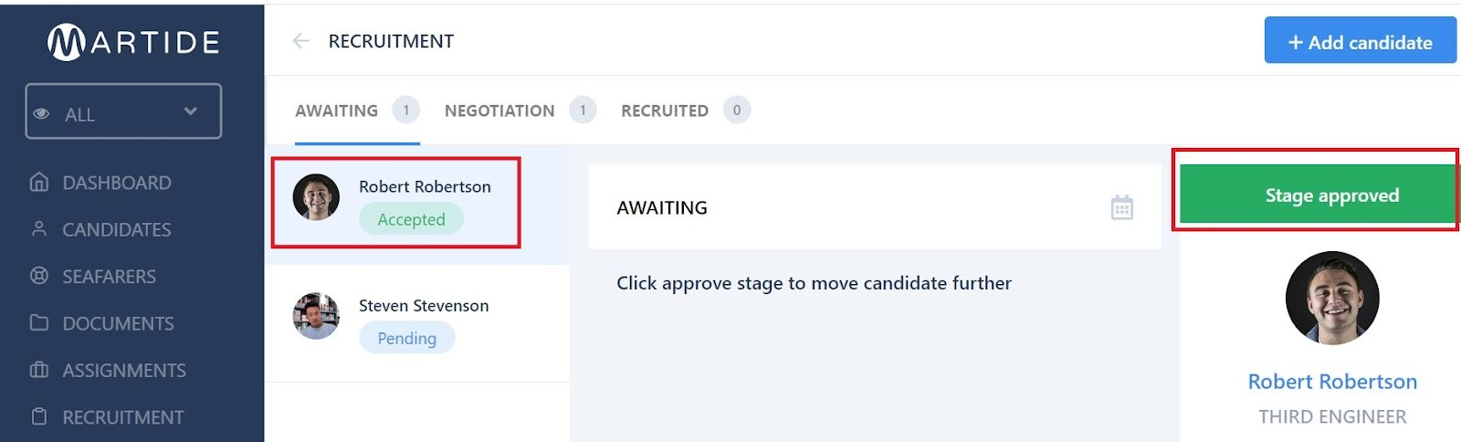 screenshot showing the stage approved message.