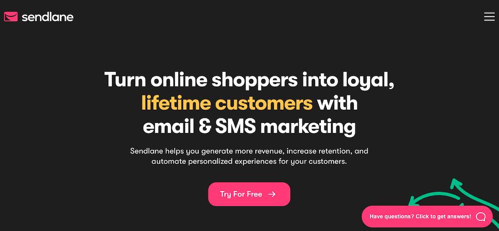 SendLane website home page