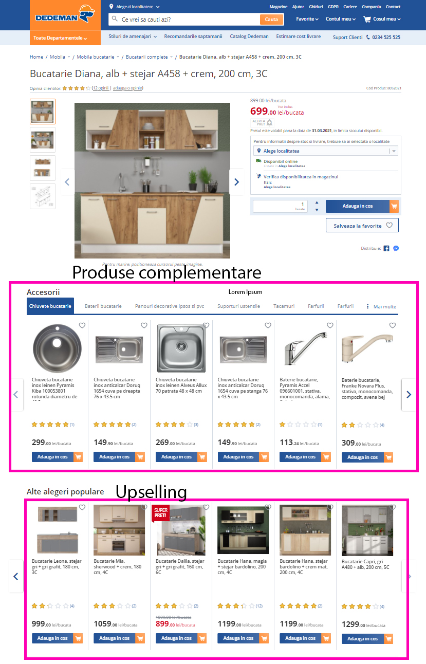Produse complementare pe o pagina de promovare a unei bucatarii. Accesoriile ajuta la cresterea valorii medii a comenzii