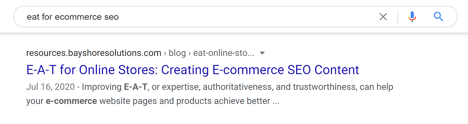 Google desktop search snippet for a blog post about E-A-T for Online Stores.