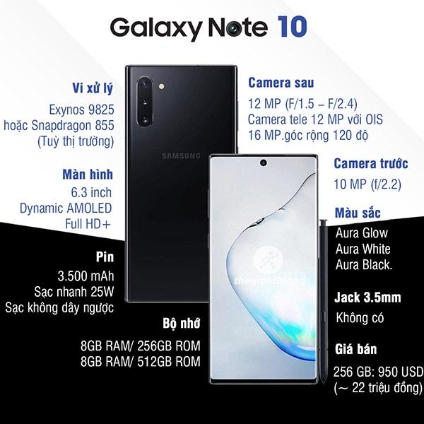 Điện thoại Samsung Galaxy Note 10 giá bao nhiêu tiền 3
