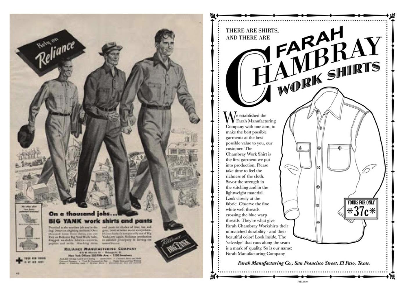 Origin of the chambray shirt, a newspaper stating the history of the chambray shirt. An article by Farah Chambray work shirts