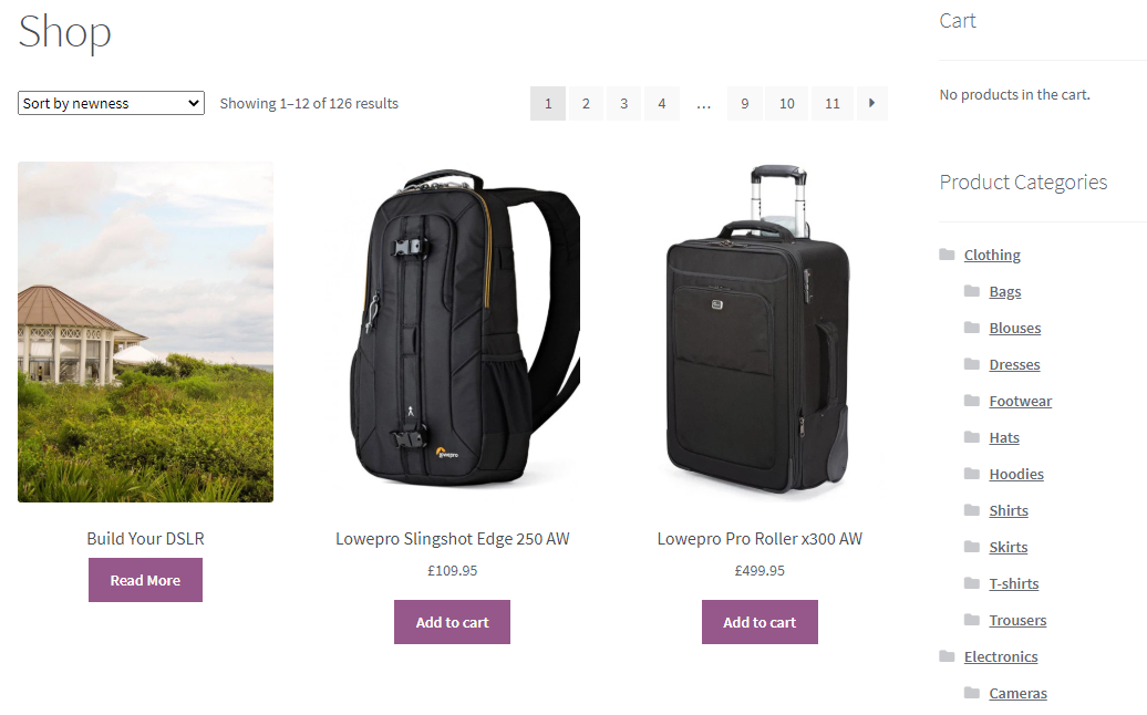 standard woocommerce category page