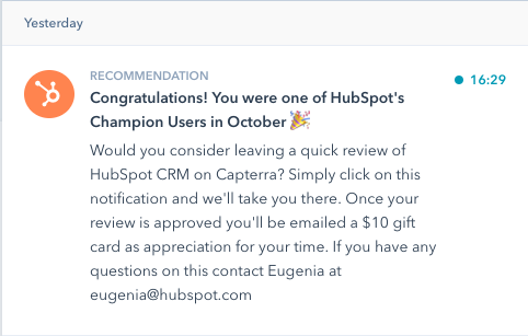variant C of the hubspot notification AB test