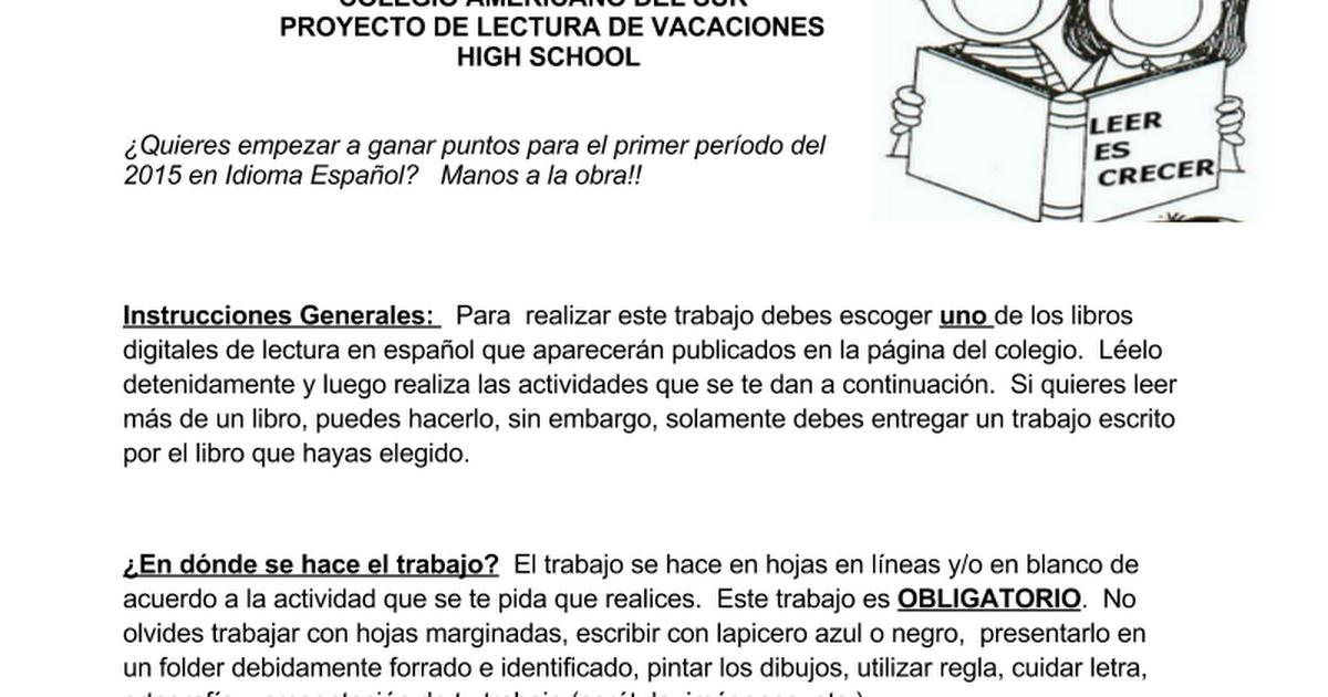 PROYECTO DE LECTURA PARA VACACIONES high.docx - Google Docs