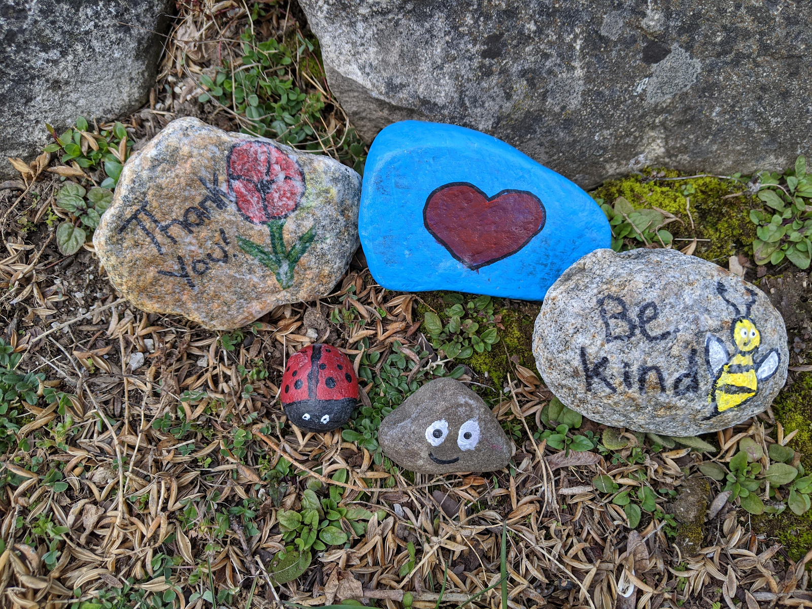 This is an image of several rocks that are painted. One says 'be kind'. Another is blue with a red heart painted on it.