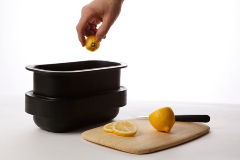 Image of freezer-size compost bin and lemon
