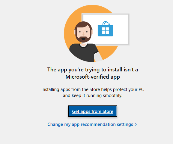 "A screenshot of the Windows OS message, ""The app you're trying to install isn't a Microsoft-verified app""."