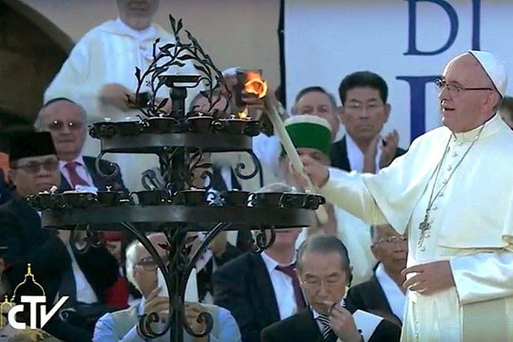 Pope with candles in Assisi