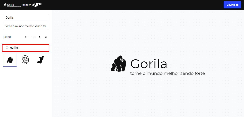 campo de busca para pesquisar um ícone para criar logotipo grátis no Zyro