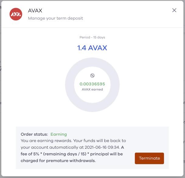 Earning Avax staking rewards