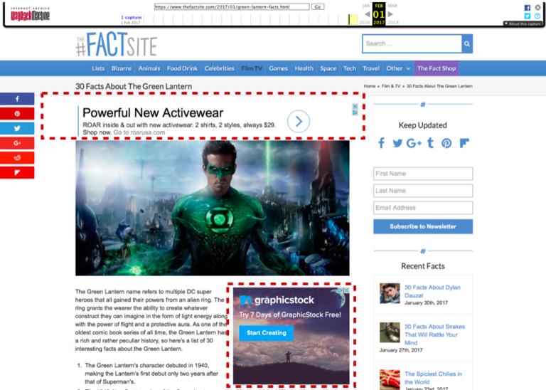 пример сайта под алгоритмом page layout и раскладкой рекламы на первом экране